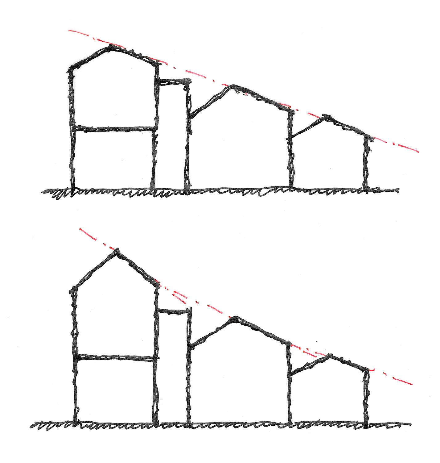 Concept sketches of potential relationships between the separate roofs