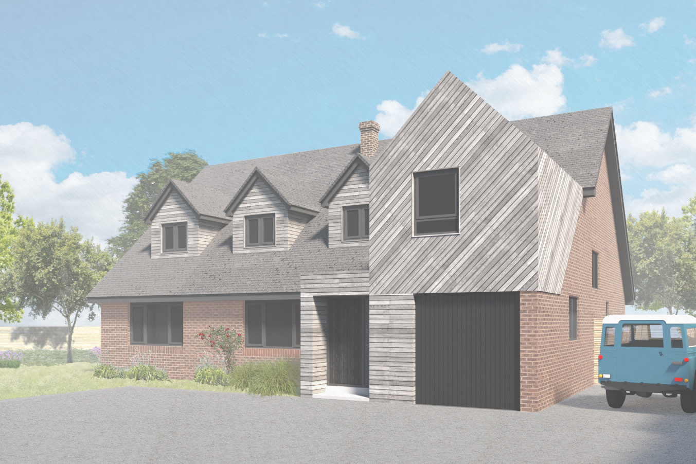 Perspective view showing the front elevation, with timber clad entrance porch and bedroom above