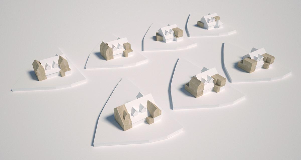 Concept models showing various massing options during design development