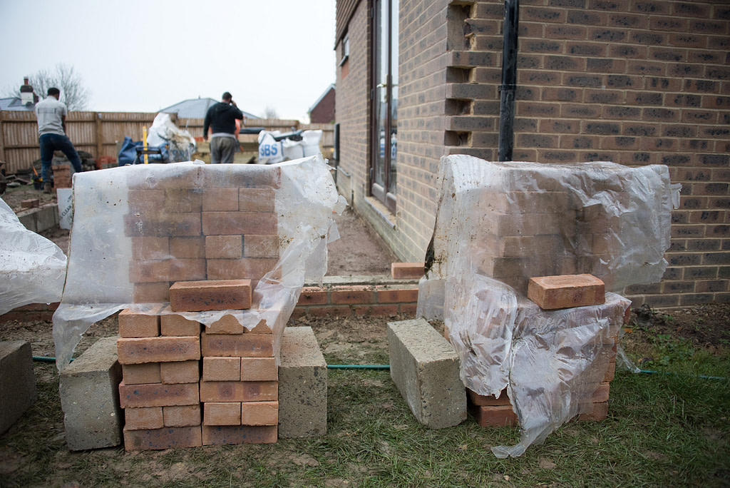 Photos showing the matching bricks ready for the ground-floor cladding to the side extension
