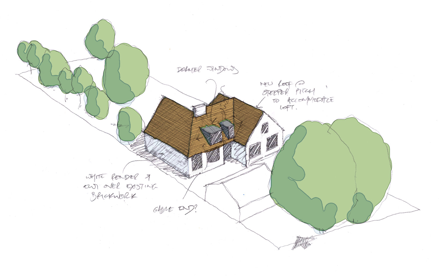 Initial sketch idea for the house, showing new render and external wall insulation to the external walls and a steeper pitch tiled roof to accommodate the new loft